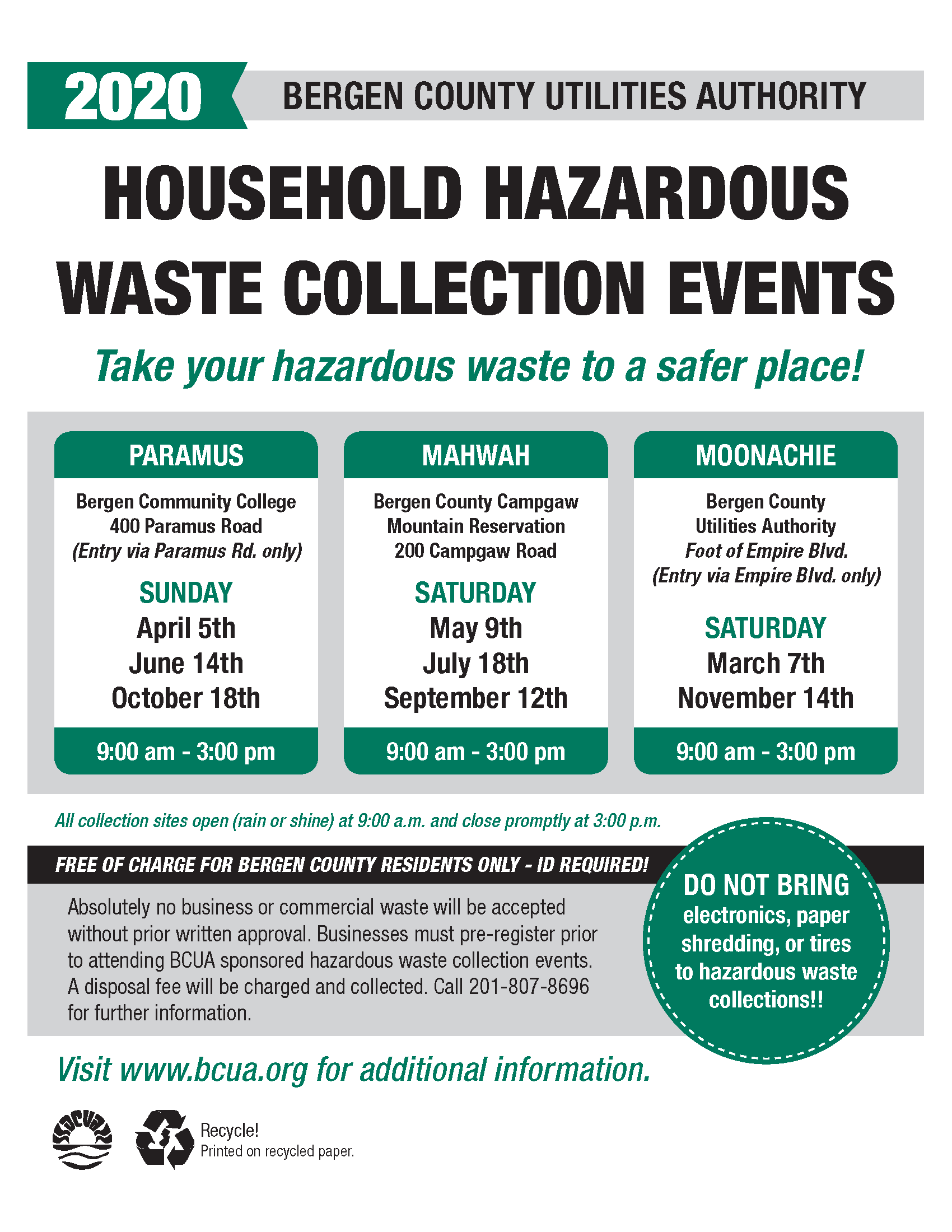 Bergen County Household Hazardous Waste Collection Dates 2020